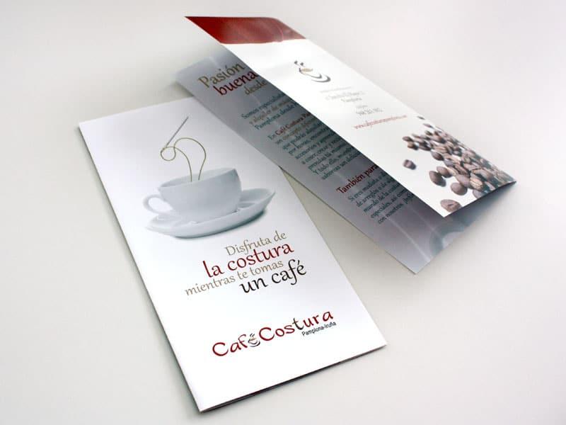 Diseño de folleto díptico Café Costura Pamplona, Navarra