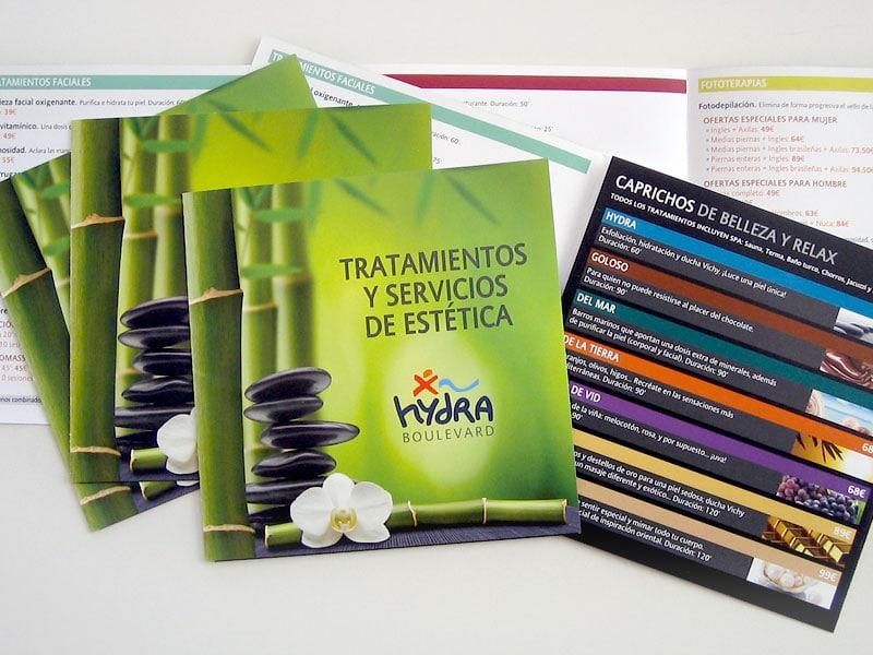 Diseño de tríptico Hydra Boulevard Estética, Vitoria, Álava