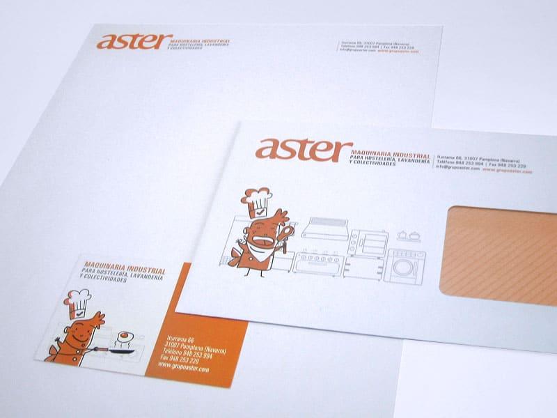 Diseño de papelería Aster de Pamplona, Navarra