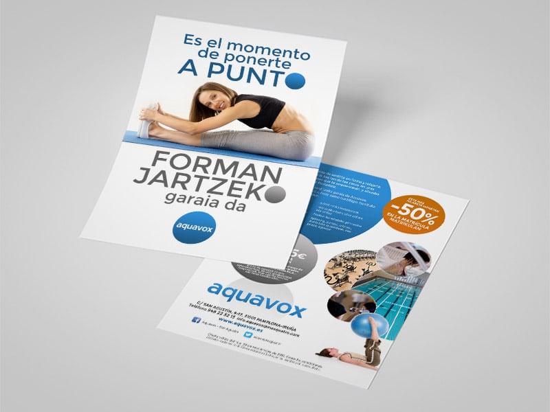 Diseño de folleto Aquavox Pamplona, Navarra