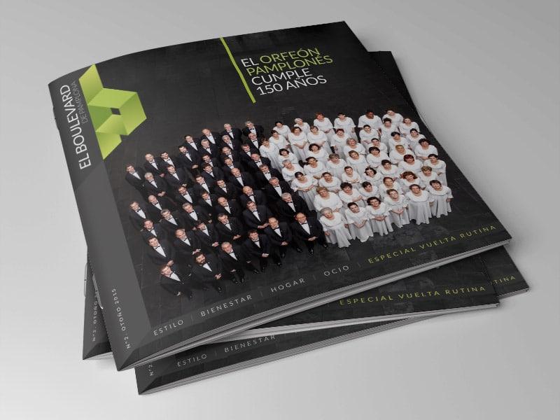 Diseño de revista El Boulevard de Pamplona, Navarra